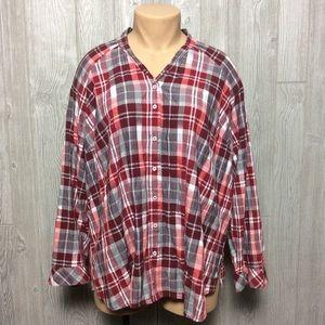 Plaid Button Down Shirt PLUS SIZE